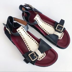 Isabel Marant Layne buckle embossed sandals 41